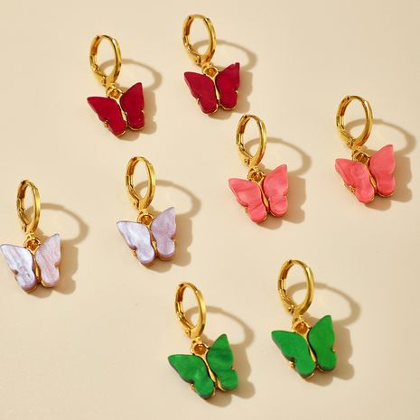 fashion hot selling new acrylic colorful  butterfly  earrings wholesale  NHGY235654's discount tags