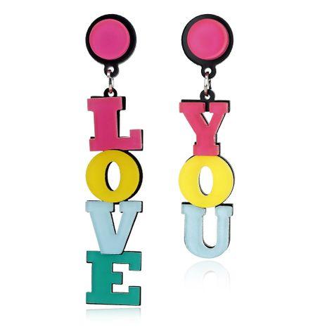 new fashion creative color love asymmetrical acrylic long earrings wholesale nihaojewelry  NHXI235578's discount tags