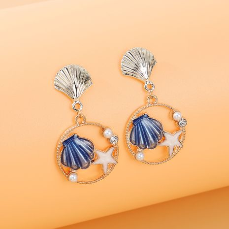 French fashion retro wild personality popular temperament shell starfish rhinestone earrings nihaojewelry wholesale   NHPS235618's discount tags