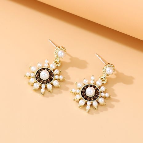 Korean new fashion  true gold-plated retro  wild national style personality popular pearl S925 silver needle earrings nihaojewelry wholesale   NHPS235622's discount tags