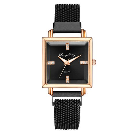 Fashion creative square dial magnet buckle mesh strap watch ladies water diamond  magnet wrist watch nihaojewelry wholesale   NHSS235668's discount tags