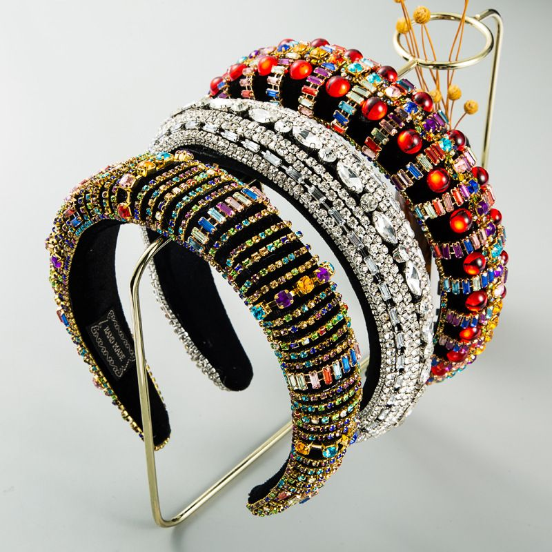 new fashion korean  Baroque style color rhinestone sponge headband female full drill plush headband nihaojewelry wholesale   NHLN235730