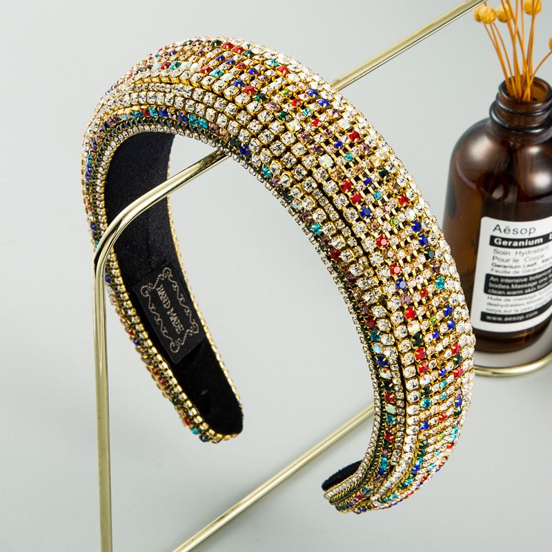 Baroque style color rhinestone sponge headband female luxury full drill  headband nihaojewelry wholesale   NHLN235731