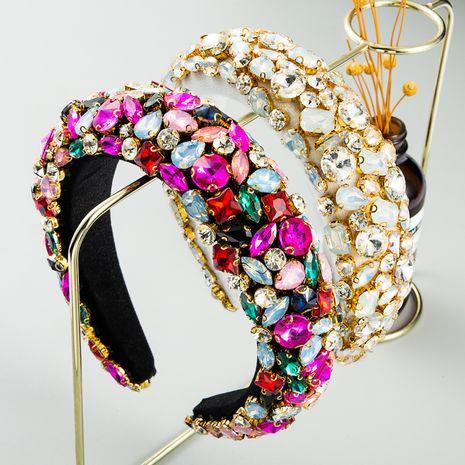 New fashion  Baroque Rhinestone Headband Women's Geometric Wide Side Full Rhinestone Color Rhinestone headband nihaojewelry wholesale   NHLN235737's discount tags