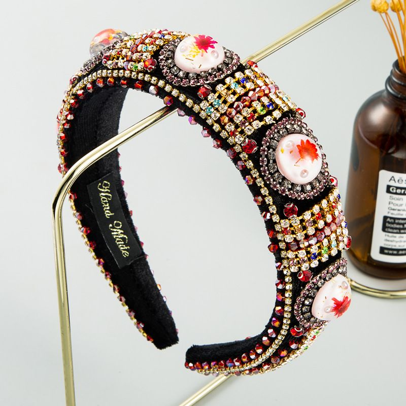 fashion new court style Baroque color rhinestone thick sponge hair accessories temperament luxury fabric fairy retro hair band nihaojewelry wholesale   NHLN235739