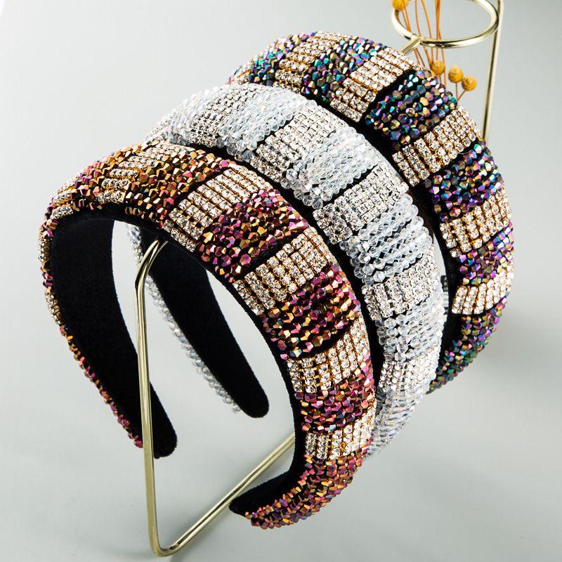 new  fashion sponge headband gold velvet cloth rhinestone woven handmade ladies prom headband luxury hair accessories nihaojewelry wholesale   NHLN235743