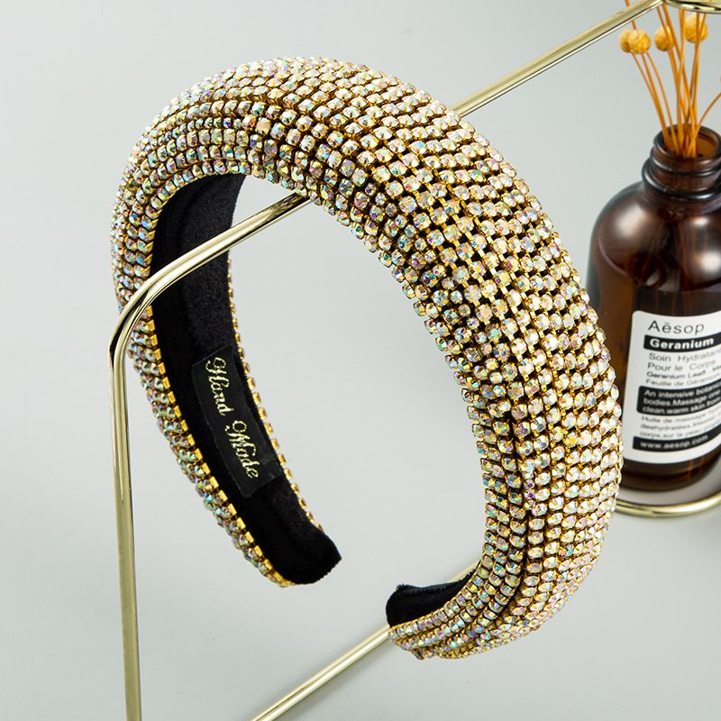 fashion new  Inlaid Color Diamond Sponge  Headband Female Luxury Heavy Industry SpongeHair Accessories nihaojewelry wholesale   NHLN235745