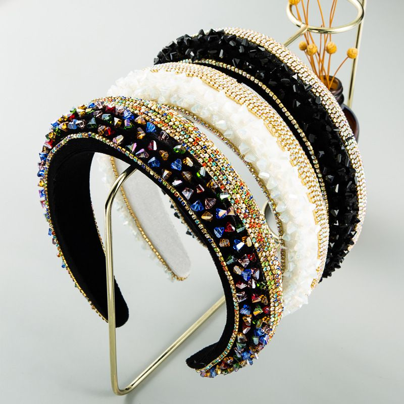 fashion new  high-end luxury  full diamond thin sponge headband female  luxury ball baroque hair accessories NHLN235746