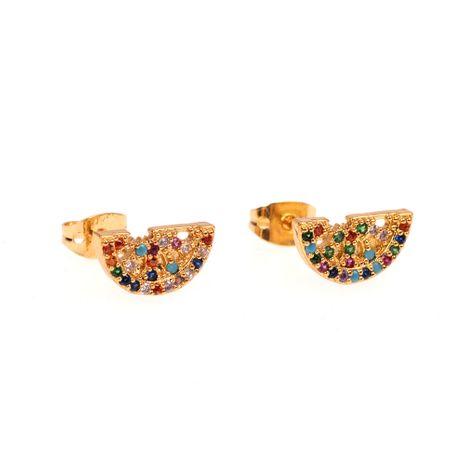 Mode créative nouveau cuivre incrusté de couleur diamant boucles d'oreilles net rouge pastèque fruits boucles d'oreilles nihaojewelry en gros NHPY235751's discount tags