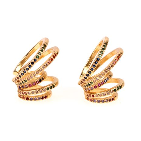 hot sale simple fashion new  color multi-circle rainbow ear bone clip female fashion non-pierced earrings nihaojewelry wholesale   NHPY235752's discount tags