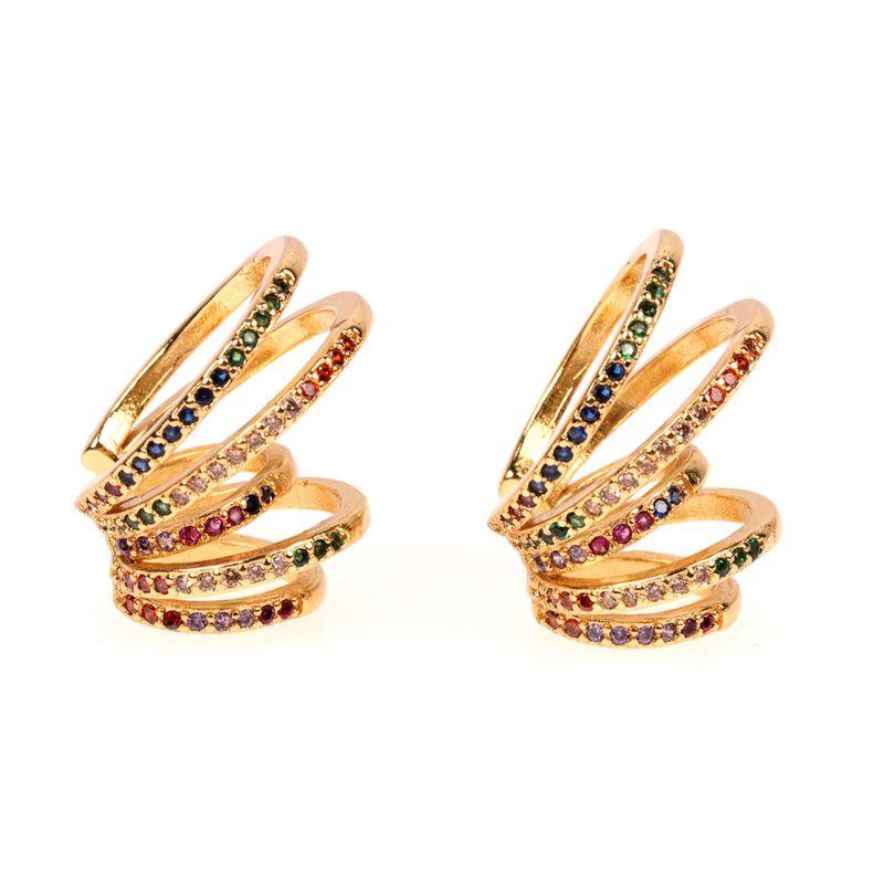 hot sale simple fashion new  color multi-circle rainbow ear bone clip female fashion non-pierced earrings nihaojewelry wholesale   NHPY235752