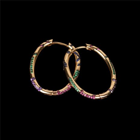 fashion new  copper-plated real gold two-color electroplated diamond earrings apm colored diamond earring nihaojewelry wholesale   NHPY235765's discount tags