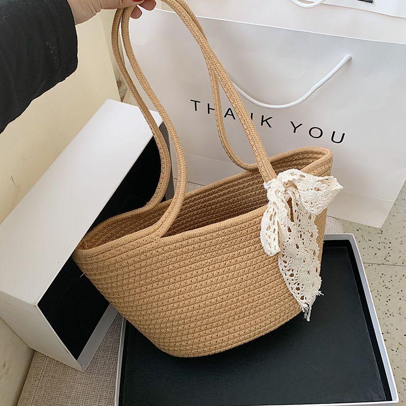 Summer small bag  new shoulder bag  woven handbag casual trend  bucket bag NHJZ235805