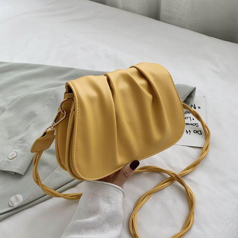 new trendy saddle bag female cloud bag white bag handbag crossbody Korean chic simple fairy fold bag wholesale NHJZ235816