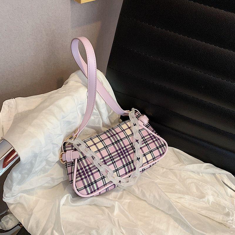 French underarm bag womens bag  new trendy fashion plaid shoulder bag  texture foreign style handbag wholesale NHJZ235818