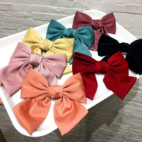 new simple korean fashion cute  brocade cloth bow parent-child spring clip top clip nihaojewelry wholesale   NHHI235851's discount tags