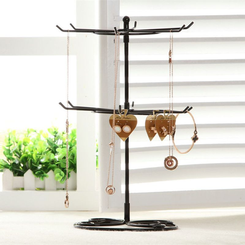 Hot Selling Rotating Jewelry Display Rack Double Necklace Rack Jewelry Storage Rack Mobile Phone Accessories Bead Hanger wholesale  NHAW235880