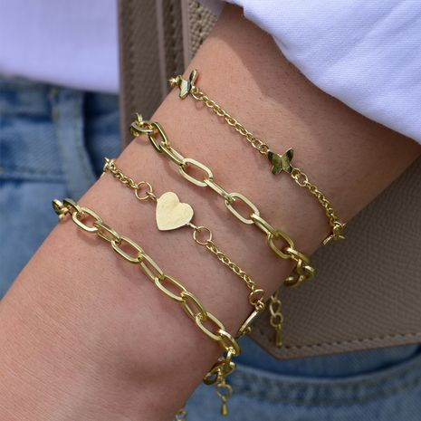 new ladies multi-layer bracelet fashion street shooting love h butterfly bracelet gold-plated DIY bracelet wholesale nihaojewelry NHOT235976's discount tags