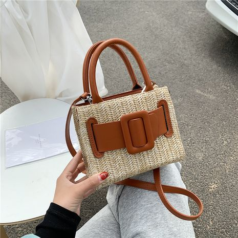 Summer straw woven bag  new fashion hand-woven small square bag fresh art one shoulder messenger bag beach bag NHGA235881's discount tags