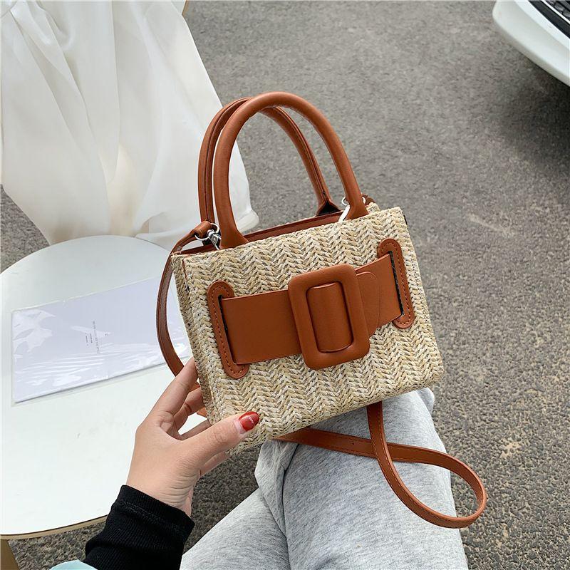 Summer straw woven bag  new fashion hand-woven small square bag fresh art one shoulder messenger bag beach bag NHGA235881