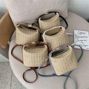 woven bucket bag summer new  bag straw woven bag single shoulder messenger bag wholesale  NHGA235882's discount tags