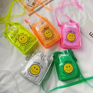 pvc transparent jelly small square bag  summer new  change hand bag children smiley print bag NHGA235883's discount tags