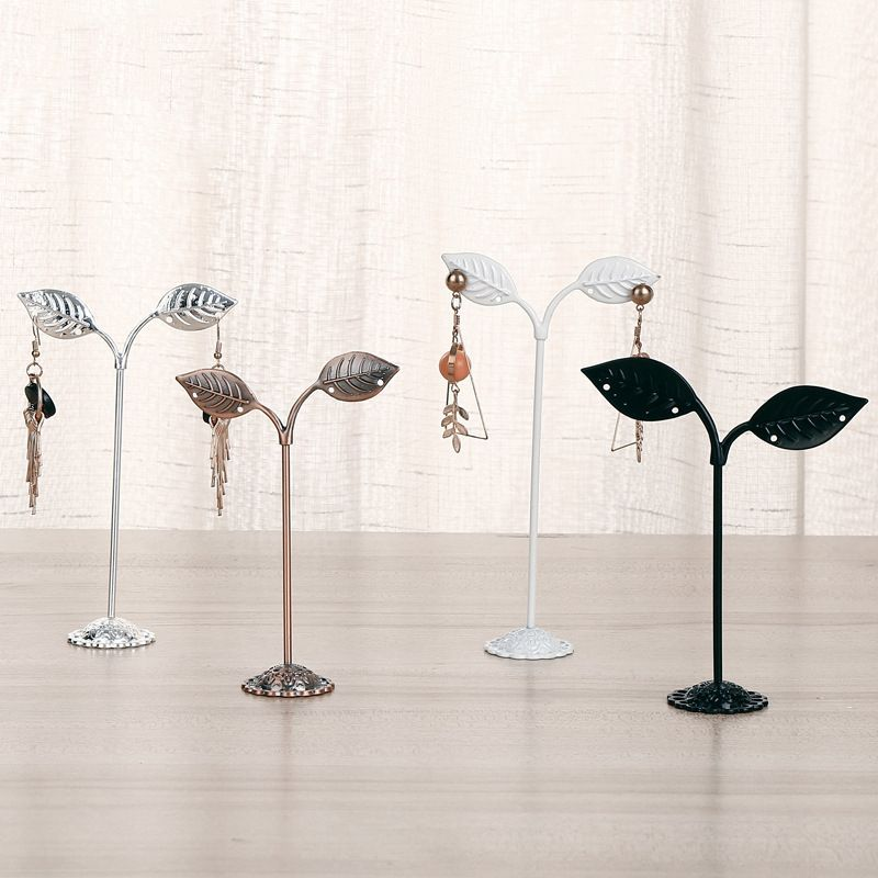 new simple wrought iron leaf threepiece earrings jewelry display stand jewelry storage rack counter display wholesale  NHAW235876