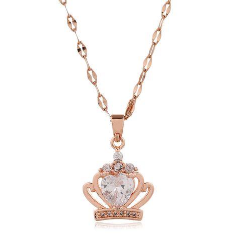 Collier de couronne de zirconium micro-incrusté de cuivre de la mode coréenne en gros nihaojewelry NHSC235971's discount tags