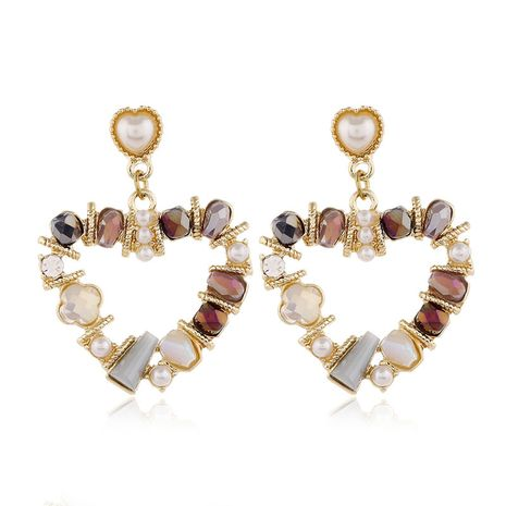925 silver needle fashion metal simple and versatile crystal pearl peach heart earrings wholesale nihaojewelry NHSC235968's discount tags