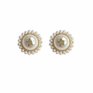 new simple pearl five- pointed star earrings ear jewelry wholesale nihaojewelry NHVA230794's discount tags