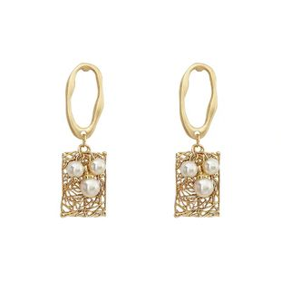 Korean new simple pearl diamond  square earrings wholesale nihaojewelry NHVA230796's discount tags