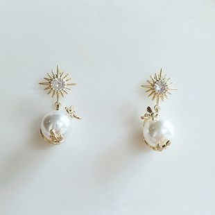 Pendientes de moda simple nueva tendencia pendientes de perlas al por mayor nihaojewelry NHVA230797's discount tags