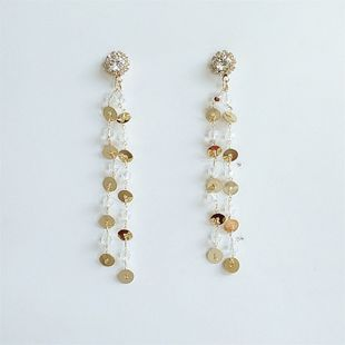 pendientes largos de borla de cristal de moda pendientes de borla larga de aleación de estilo étnico al por mayor nihaojewelry NHVA230798's discount tags