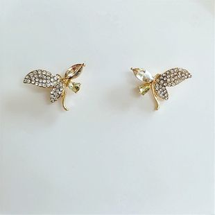 Korean new fashion small flowers with diamond earrings wholesale nihaojewelry NHVA230800's discount tags