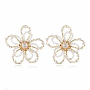 stylish simple wild crystal flower earrings wholesale nihaojewelry NHVA230807's discount tags