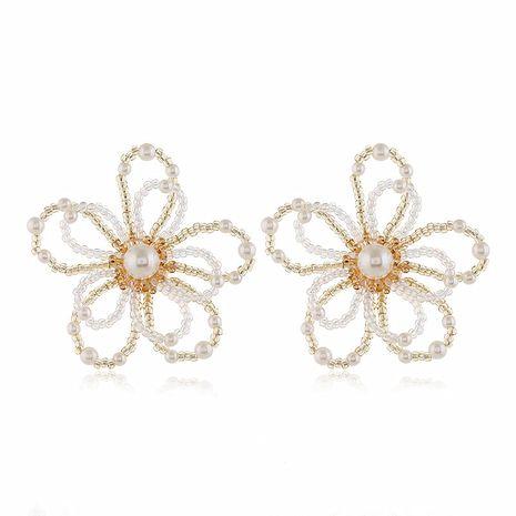 stylish simple wild crystal flower earrings wholesale nihaojewelry NHVA230807's discount tags