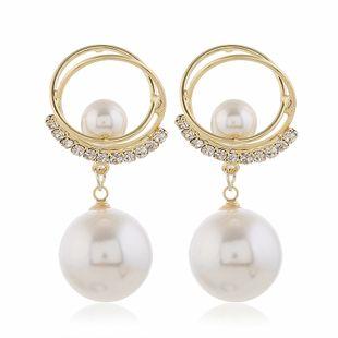 Boucles d'oreilles diamant perle mode coréenne en gros nihaojewelry NHVA230813's discount tags