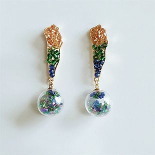 Boucles d'oreilles boule de verre de couleur coréenne de mode nouvelles boucles d'oreilles de mode créative en gros nihaojewelry NHVA230814's discount tags