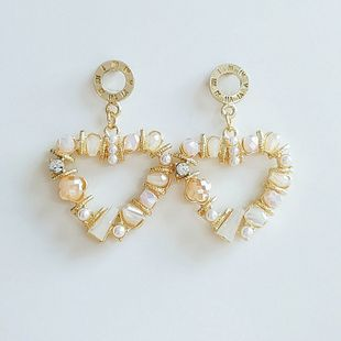 Moda nueva dulce cristal perla amor pendientes tendencia pendientes al por mayor nihaojewelry NHVA230815's discount tags