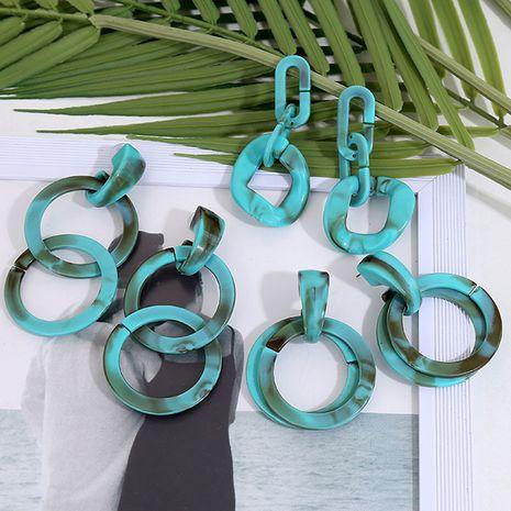 mode exagéré longue chaîne vert acrylique boucles d'oreilles tendance multicouche résine boucles d'oreilles bijoux en gros nihaojewelry NHLA230817's discount tags