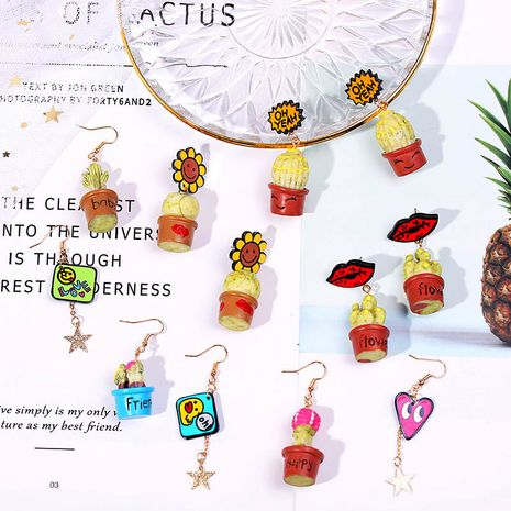 Korean cute potted three-dimensional cactus acrylic earrings exaggerated geometric cute resin earrings jewelry wholesale nihaojewelry NHLA230818's discount tags