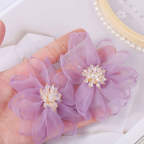 Korean fashion  exaggerated mesh gauze flower  rhinestones earrings jewelry wholesale nihaojewelry NHLA230820's discount tags