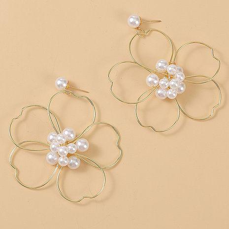 exagéré perle tissé grande fleur boucles d'oreilles tendance créative à remontage manuel boucle d'oreille bijoux en gros nihaojewelry NHLA230822's discount tags