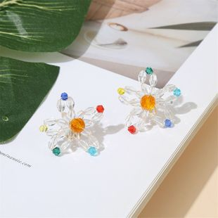 925 silver Korean cute color woven crystal flower earrings fashion simple non-allergic earrings wholesale nihaojewelry NHLA230823's discount tags