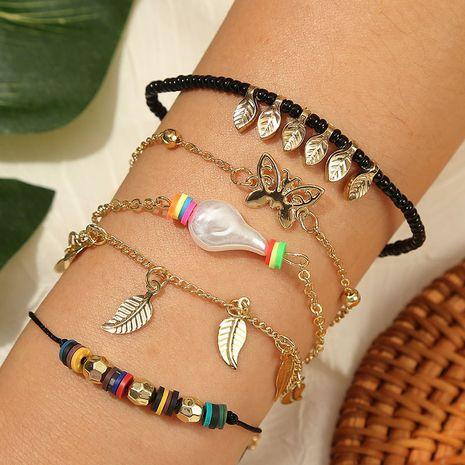 tissé à la main papillon riz perle costume bracelet créatif multicouche feuille d'argile douce cinq bracelets en gros nihaojewelry NHLA230826's discount tags