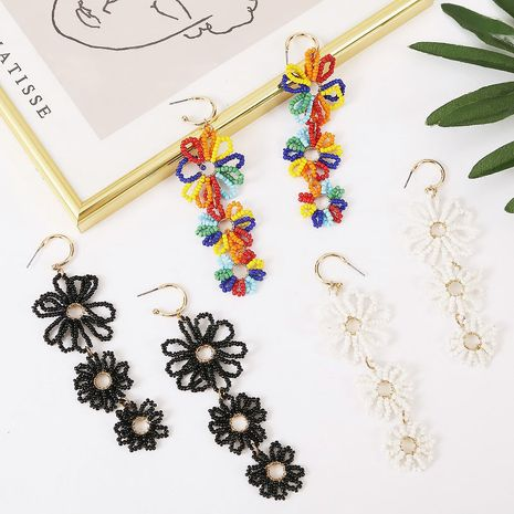fashion long hand-woven rice beads flower earrings creative trend color resin earrings  wholesale nihaojewelry NHLA230827's discount tags