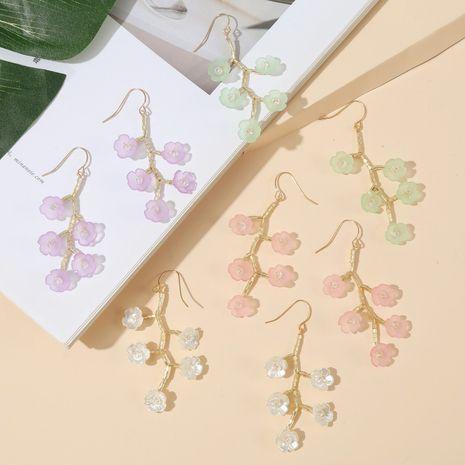 Coréenne longue à la main imitation shell arbre branche fleur boucles d'oreilles nouvelle tendance cristal tressé boucles d'oreilles bijoux en gros nihaojewelry NHLA230829's discount tags