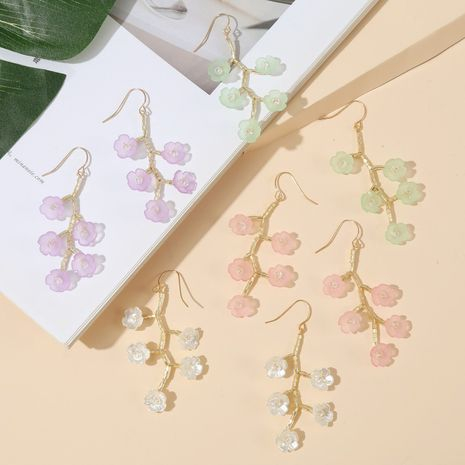 Korean  long hand-made imitation shell tree branch flower earrings new trend woven crystal earrings jewelry wholesale nihaojewelry NHLA230829's discount tags