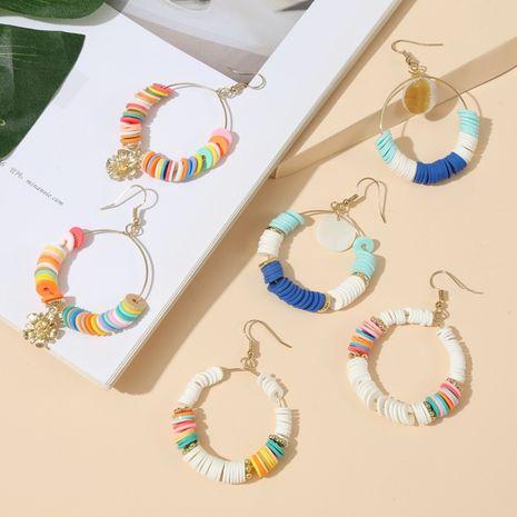 mode vente chaude géométrique rond coloré doux en céramique boucles d'oreilles en perles à la mode boucles d'oreilles à la main en gros nihaojewelry NHLA230831's discount tags