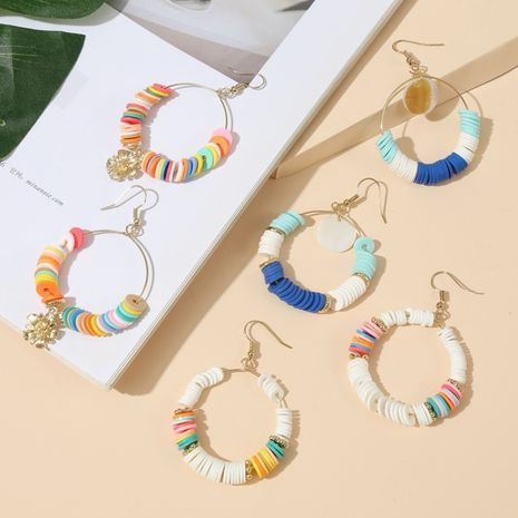 fashion hot sale geometric round colorful soft ceramic beaded earrings trendy handmade earrings  wholesale nihaojewelry NHLA230831's discount tags